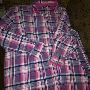 Woman's, pink plaid fleece, button down, 3X